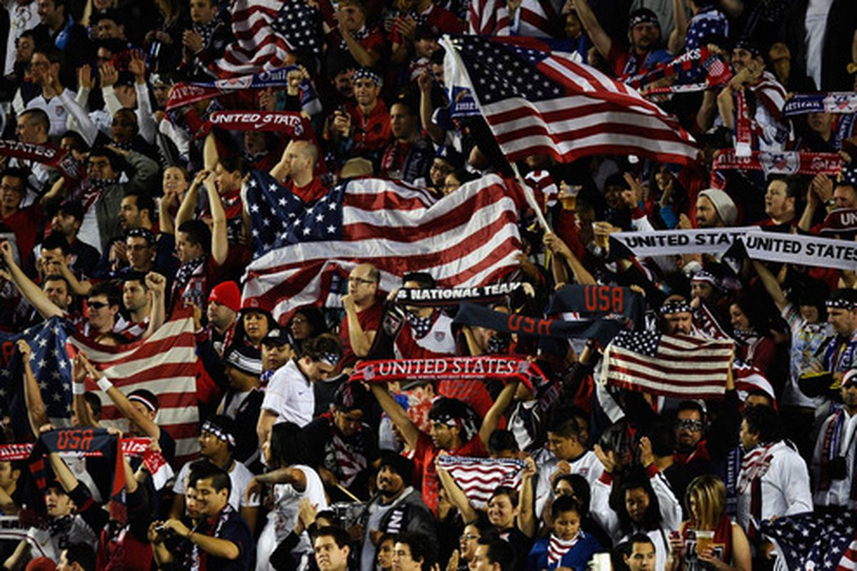CARSON CA - JANUARY 22:  Fans of United States cheer for their team during the friendly soccer match against Chile at The Home Depot Center on January 22 2011 in Carson California.  (Photo by Kevork Djansezian/Getty Images)
