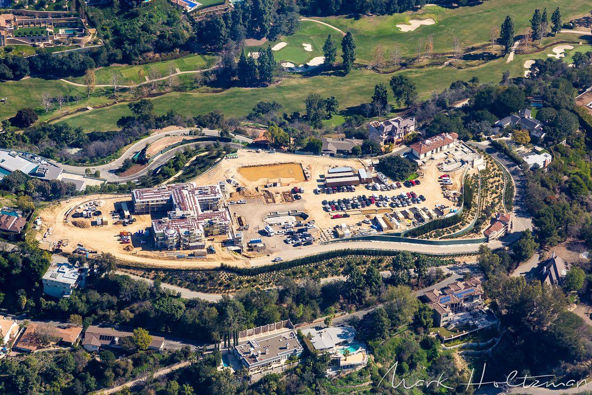Long range aerial photo of Bel Air megamansion