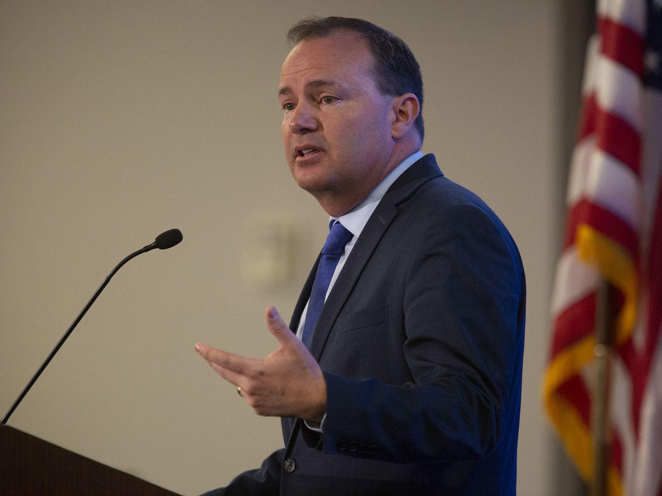 Sen. Mike Lee, R-Utah, speaks during the annual Utah Eagle Forum convention in Sandy on Saturday, Jan. 11, 2020.