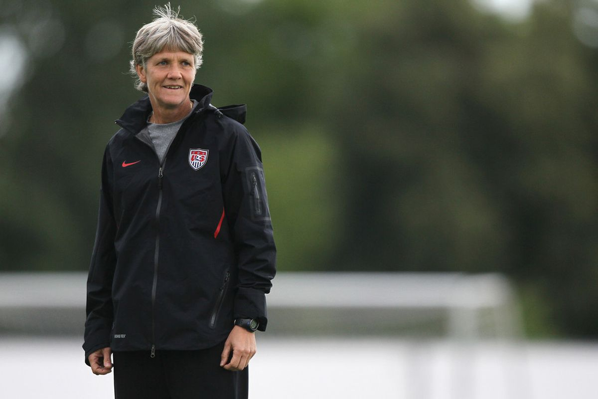 FRANKFURT AM MAIN, GERMANY - JULY 14:  Head coach Pia Sundhage of USA attends the USA team training session at training ground Rebstock on July 14, 2011 in Frankfurt am Main, Germany.  (Photo by Christof Koepsel/Getty Images)