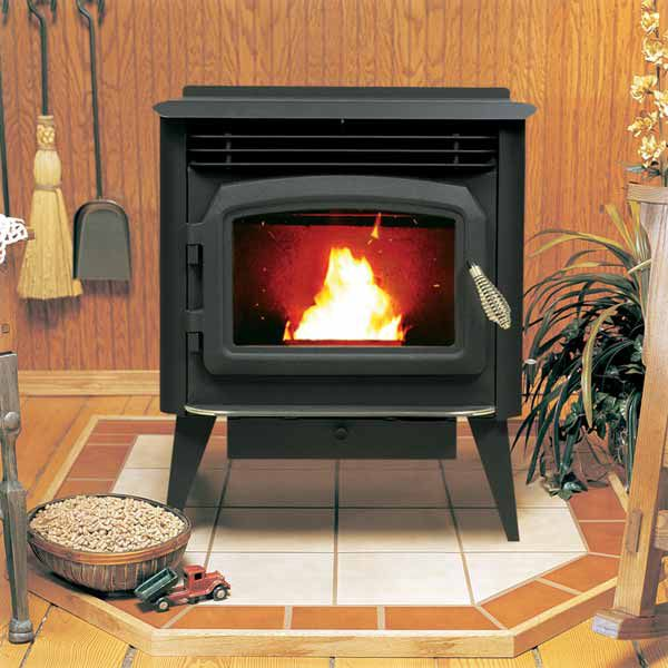 Freestanding Pellet Stove With Wood Pellets