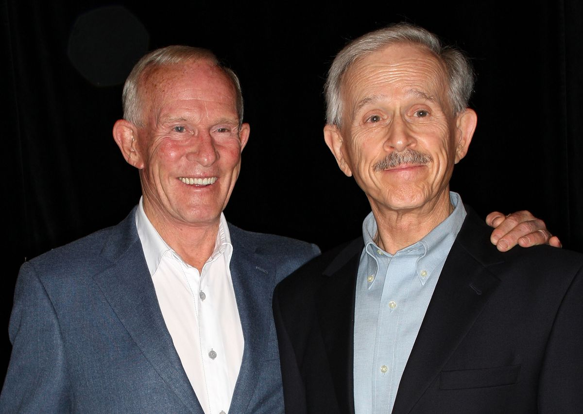 Tommy Smothers (left) and Dick Smothers are photographed at 2008 event in Beverly Hills, California.   Photo by Frederick M. Brown/Getty Images