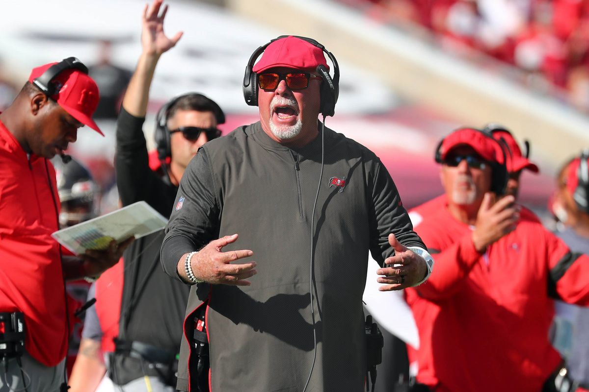 Tampa Bay Buccaneers head coach Bruce Arians reacts against the Indianapolis Colts during the first half at Raymond James Stadium.