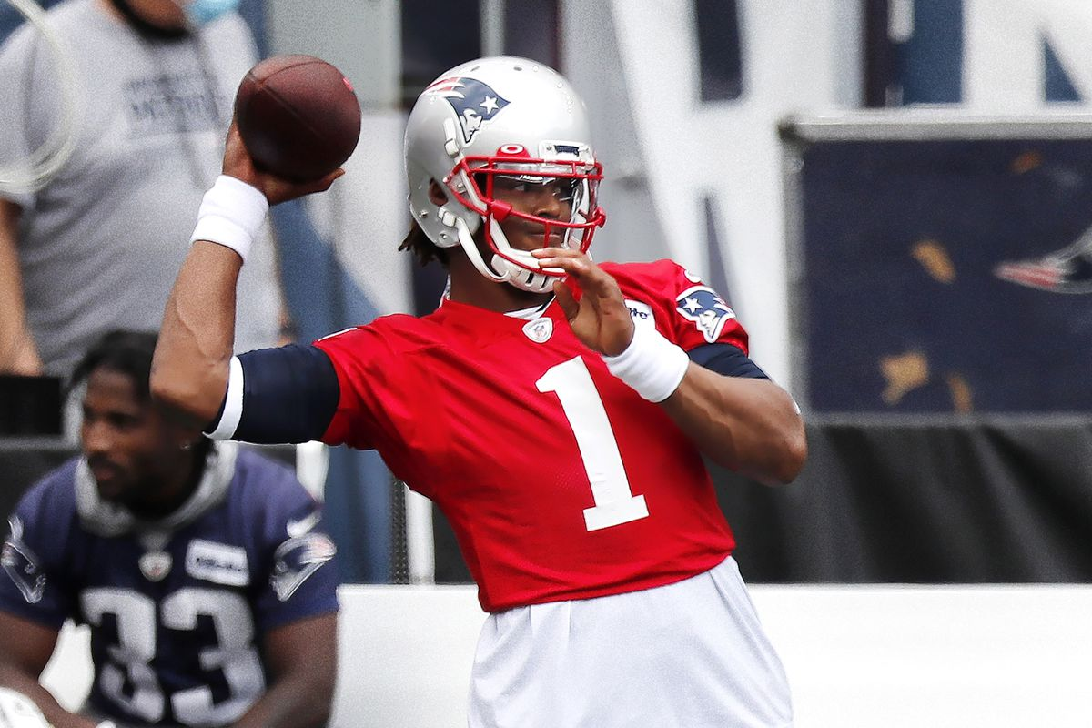 Cam Newton of the New England Patriots throws during training camp at Gillette Stadium on August 28, 2020 in Foxborough, Massachusetts.