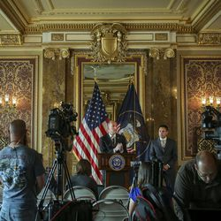 Lt. Gov. Spencer Cox discusses the special election timeline to replace 3rd District Rep. Jason Chaffetz, R-Utah, during a press conference in the Gold Room at the state Capitol in Salt Lake City on Friday, May 19, 2017.