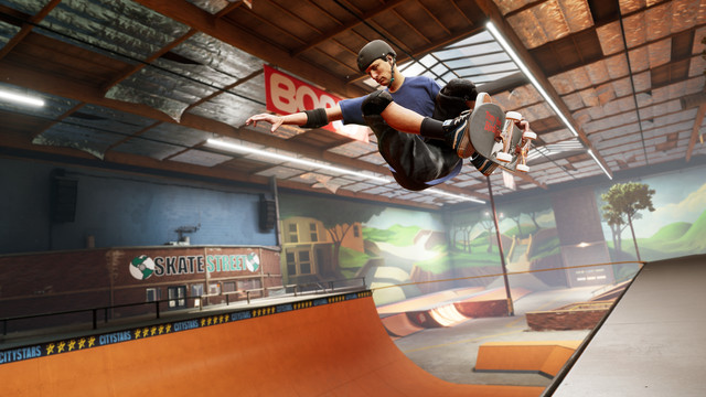 Tony Hawk doing an air trick above a halfpipe in the Tony Hawk's Pro Skater 1 + 2 remake