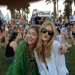 """Stylist Cher Coulter, left, with model Rosie Huntington-Whiteley. Photo via <a href=""""https://twitter.com/#!/RHW/status/193780367461847040/photo/1"""">Rosie's Twitter</a>."""