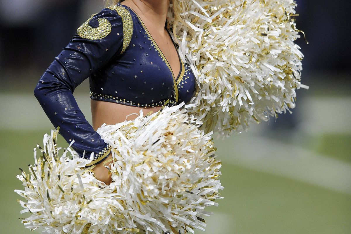 August 30, 2012; St. Louis, MO, USA; St. Louis Rams cheerleader performs during a game against the Baltimore Ravens at the Edward Jones Dome. The Rams won 31-17. Mandatory Credit: Jeff Curry-US PRESSWIRE