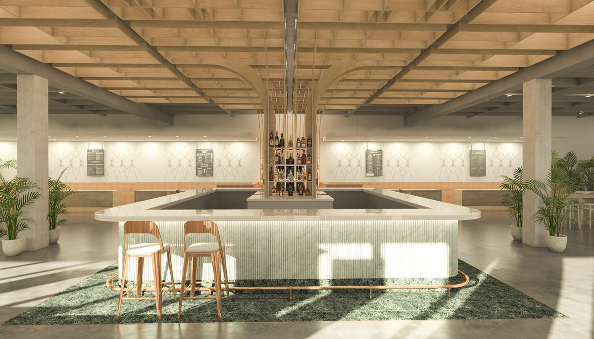 A rendering of Politan Row with bar, two wood stools with white seats