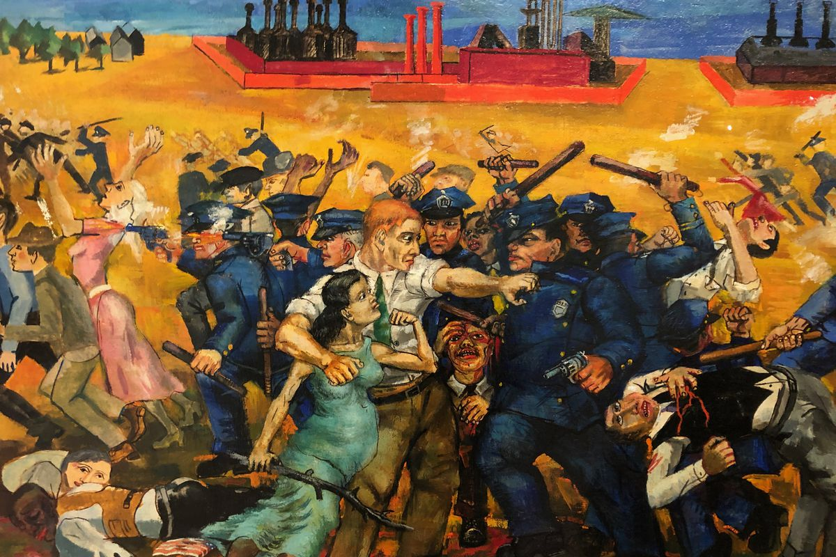 """Philip Evergood's 1937 """"An American Tragedy"""" depicts a bloody clash between hundreds of steelworkers marching on the Republic Steel's South Side plant, demanding the right to unionize."""