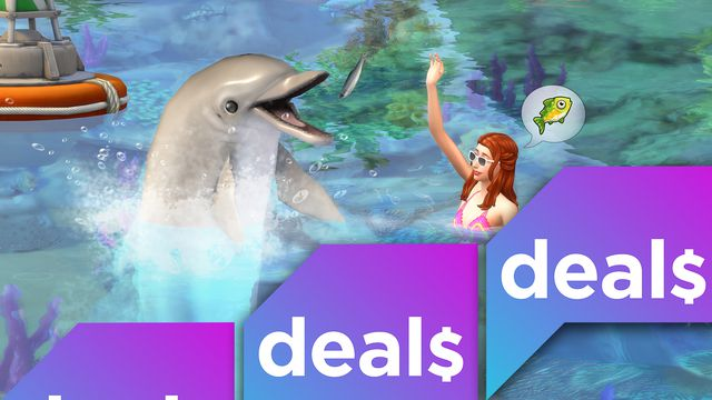 A screenshot of a dolphin and a Sim overlaid with the Polygon Deals logo