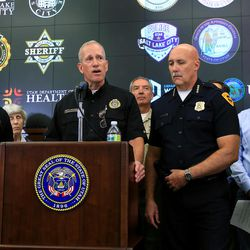House Speaker Greg Hughes, left, Salt Lake City Police Chief Mike Brown, second from right, and Lt. Gov. Spencer Cox, right, listen as Utah Department of Public Safety Commissioner Keith Squires, at podium, discusses Operation Rio Grande during a press conference at the state Capitol in Salt Lake City on Monday, Aug. 14, 2017.