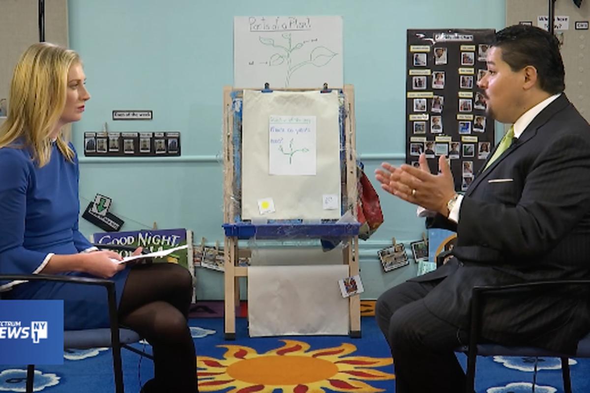 Chancellor Richard Carranza was pressed on segregation, testing and metal detectors in schools.