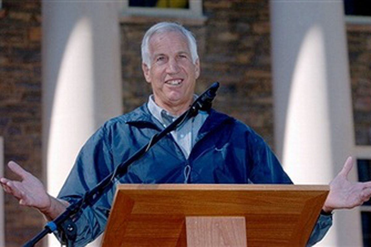 In this October 3, 2004, founder of the Second Mile Organization and former Penn State defensive coordinator Jerry Sandusky talks at the closing ceremony to celebrate Penn State's 150th birthday (Getty Images)