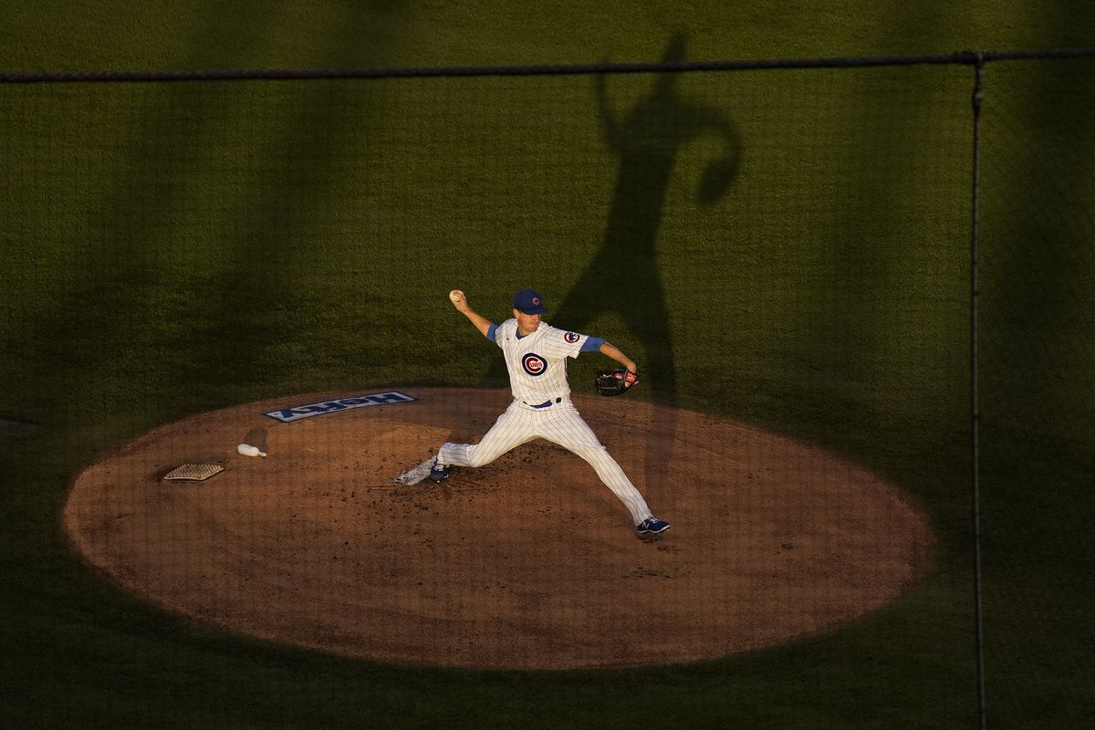 Kyle Hendricks throws during the Cubs' 5-4 victory over the Royals on Tuesday at Wrigley Field.