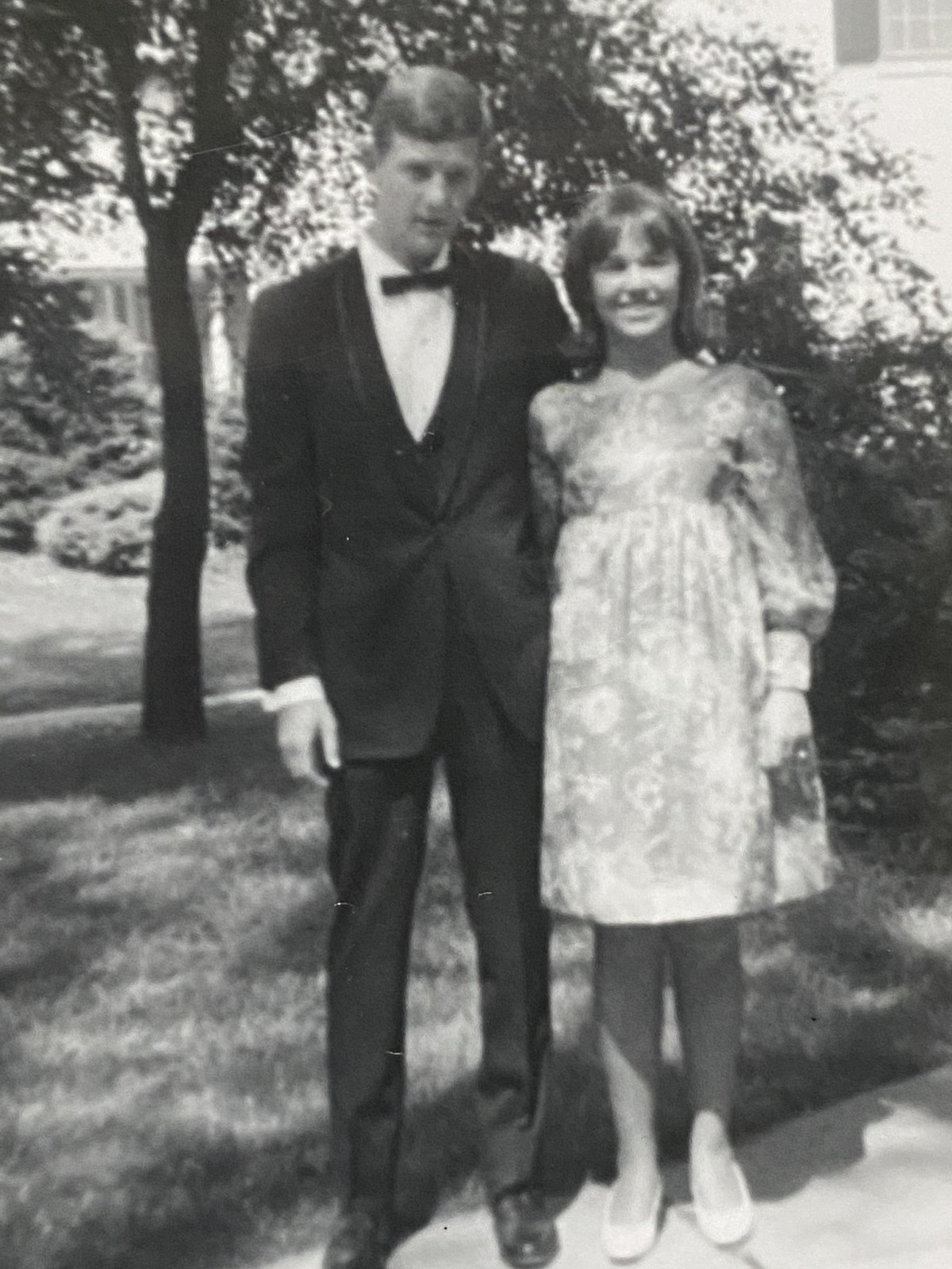William Dabbert, shown here with date before his high school prom, attended Western Illinois University but left school a semester before graduation because he expected to be drafted and wanted to spend time with his hometown friends.
