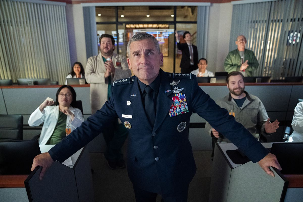 General Naird (Steve Carell) wears a military uniform in the Space Force control room