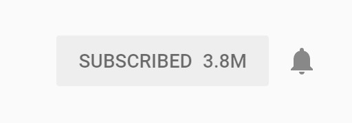 YouTube 'subscribed' bell for channel with 3.8 million subscribers