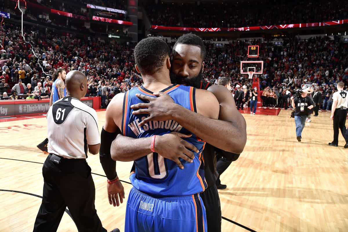 92cdcf8ca59e NBA scores 2017  James Harden and Russell Westbrook are titans terrifying  the NBA