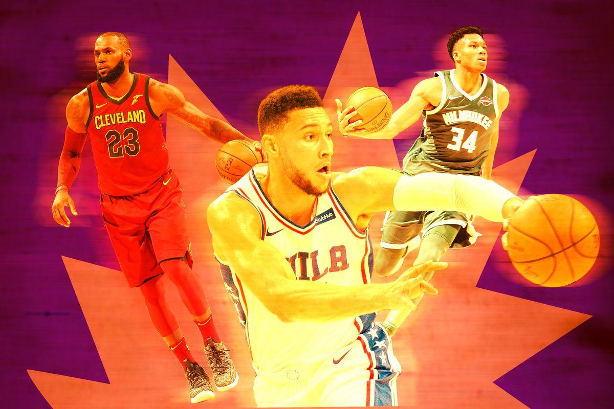 LeBron James, Ben Simmons, and Giannis Antetokounmpo all holding basketballs