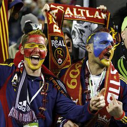 Fans celebrate as Real Salt Lake defeats the Los Angeles Galaxy in the MLS Cup.