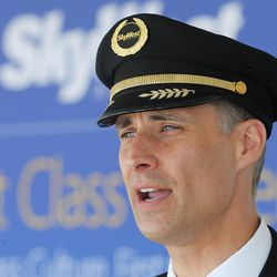 SkyWest Capt. Matthew Schroeder talks about what its like to be a pilot  during the Skypark Aviation Festival and Expo at Skypark Airport in Woods Cross on Friday, June 2, 2017. The expo is Utah's largest annual aviation event.
