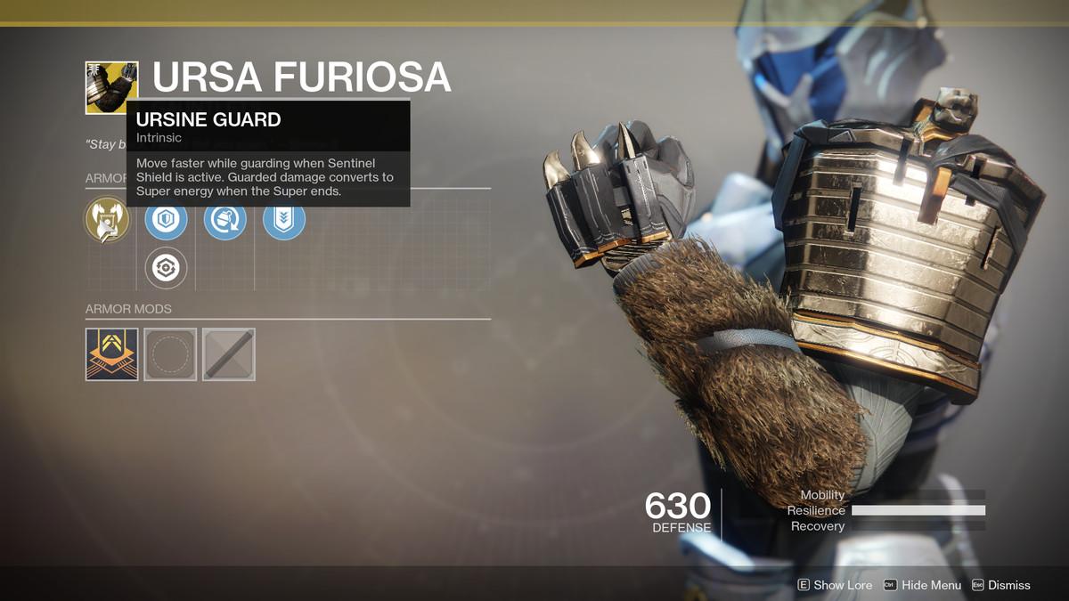 Ursa Furiosa Exotic Destiny 2