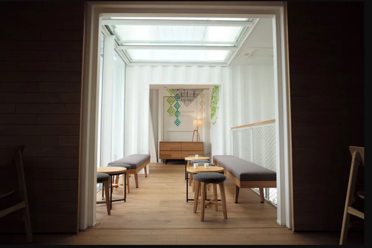 Interior of shipping container with skylight