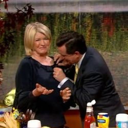 """<a href=""""http://eater.com/archives/2010/11/11/stephen-colbert-shows-martha-stewart-the-snacks-of-his-childhood.php"""" rel=""""nofollow"""">Colbert Makes Martha Stewart the Snacks of His Childhood</a><br />"""
