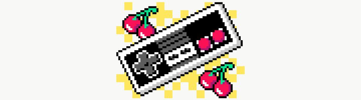 Pixel art illustration of retro game controller