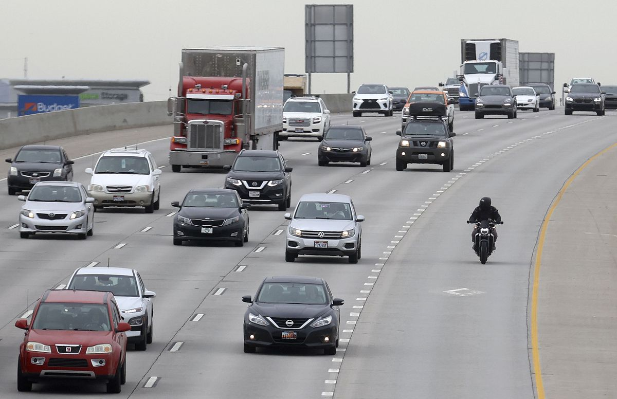 A motorcyclist travels northbound I-15 in Murray on Wednesday, April 21, 2021. The Utah Department of Transportation is launching a Ride to Live motorcycle safety campaign.