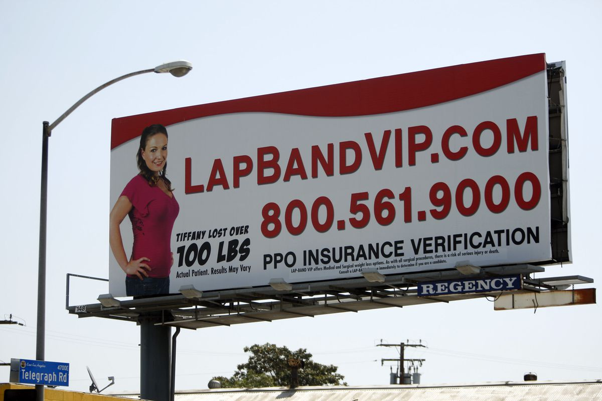 A billboard for lap band surgery, which obese patients have used to lose weight.