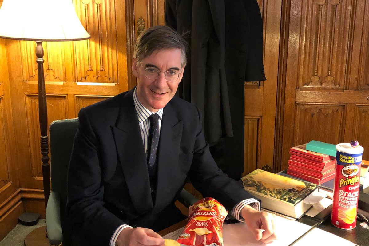 Jacob Rees-Mogg with his ready salted crisps selection