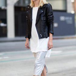 "Courtney of <a href=""http://alwaysjudging.com ""target=""_blank"">Always Judging</a> is wearing a Vida jacket, an LNA tunic, a Chan Luu skirt, Celine sunglasses, <a href=""http://www.neimanmarcus.com/Manolo-Blahnik-BB-Suede-105mm-Pump-Black-Made-to-Order/prod"