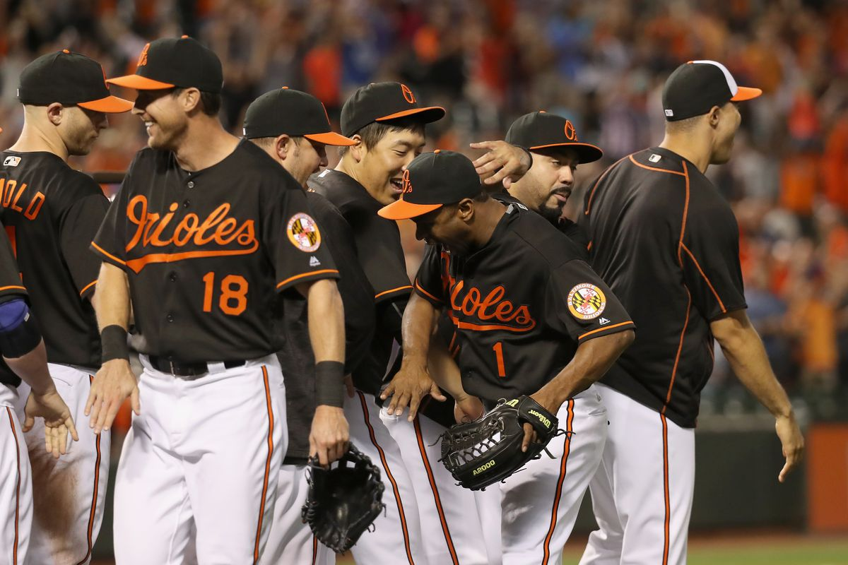 The Orioles celebrate their 81st win of the 2016 season.