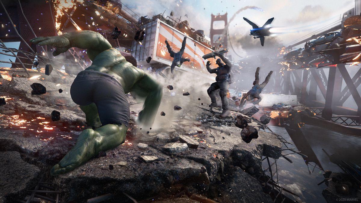 Hulk attacks an enemy on the Golden Gate Bridge in Marvel's Avengers