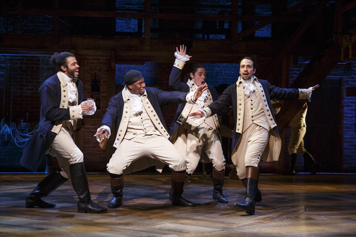 "Daveed Diggs (from left), Okieriete Onaodowan, Anthony Ramos and Lin-Manuel Miranda in ""Hamilton."" Photo by Joan Marcus"