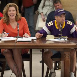 Senator Julie Rosen, author of the stadium bill, smiles as Minnesota Vikings fan Larry Spooner pleads with the Senate Jobs and Economic Growth Committee at the state Capitol on Tuesday, April 24, 2012.  The Senate Jobs and Economic Development Committee moved the proposal forward Tuesday on a voice vote. It's due next in the Senate Finance Committee which could be its last stop before a Senate floor vote.  The House version of the $1 billion stadium proposal has cleared committees and could get a floor vote as early as Wednesday.