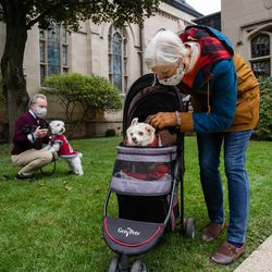 Michelle Quigley pets her dog Pepito after a pet blessing ceremony in celebration of the feast day of St. Francis of Assisi.