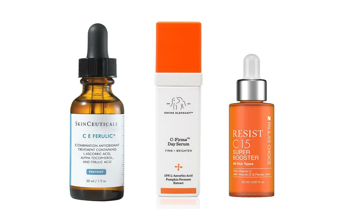 Skinceuticals CE Ferulic, Drunk Elephant C Firma Day Serum, and Paula's Choice Resist C15 Super Booster