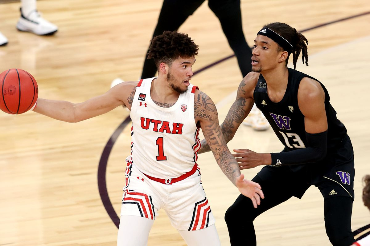 Utah Utes forward Timmy Allen (1) works on Washington Huskies forward Hameir Wright (13) as Utah and Washington play in the Pac-12 Tournament at T-Mobile Arena in Las Vegas on Wednesday, March 10, 2021. Allen has reportedly entered the transfer portal.