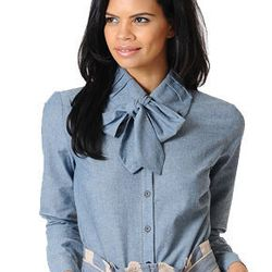 """The Pirette, <a href=""""http://www.bradamant.com/products/pussey-bow-chambray-blouse"""">$88</a>"""