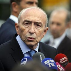 """French interior minister, Gerard Collomb, addresses the media after a man attacked police officers with a hammer on the esplanade of the Notre Dame cathedral in Paris, France, Tuesday, June 6, 2017. Collomb says the attacker cried """"it's for Syria"""" as he went after officers patrolling an esplanade in front of the famous landmark."""