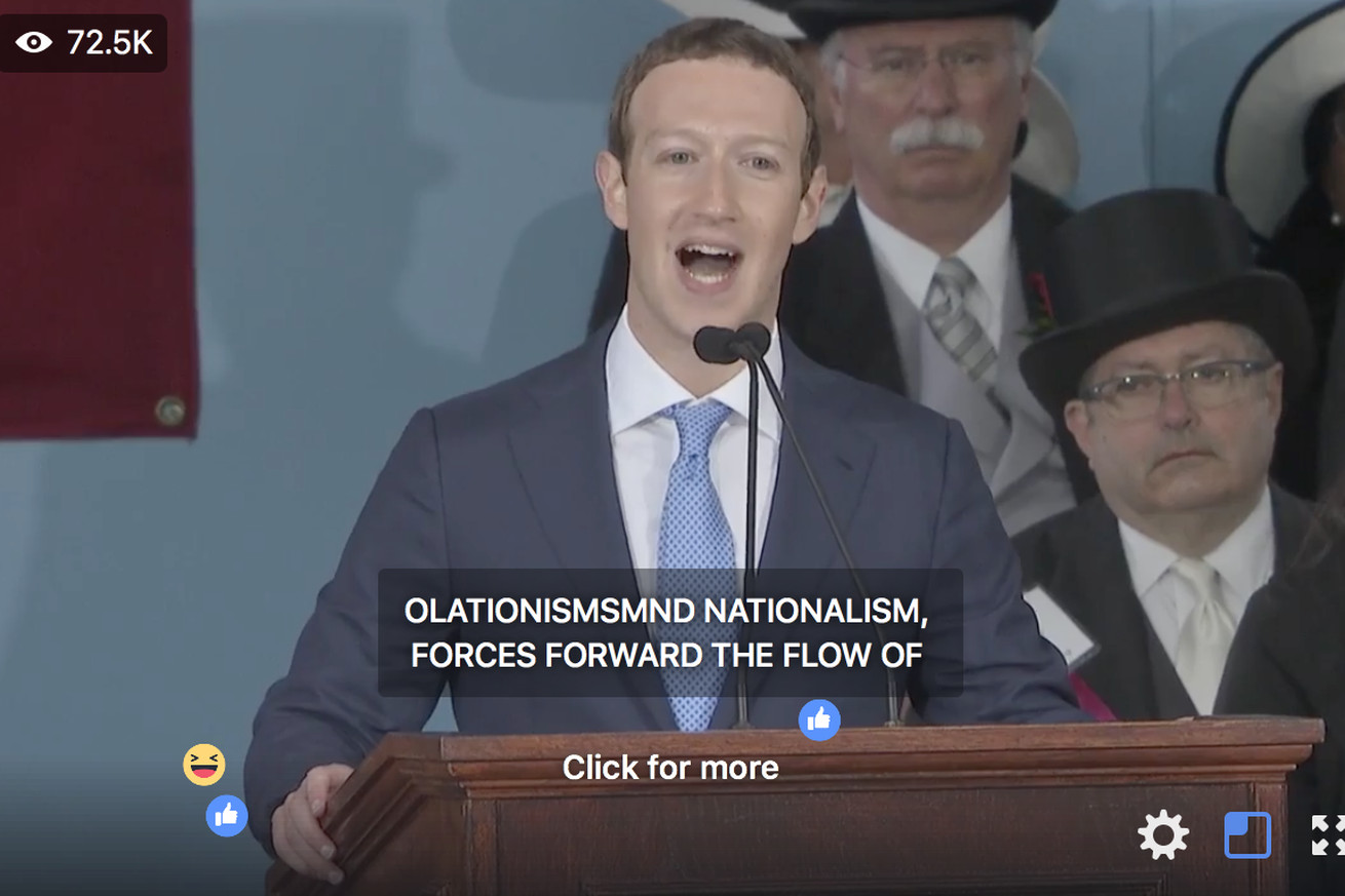 mark zuckerberg s commencement speech streamed on facebook with hilariously awful captions