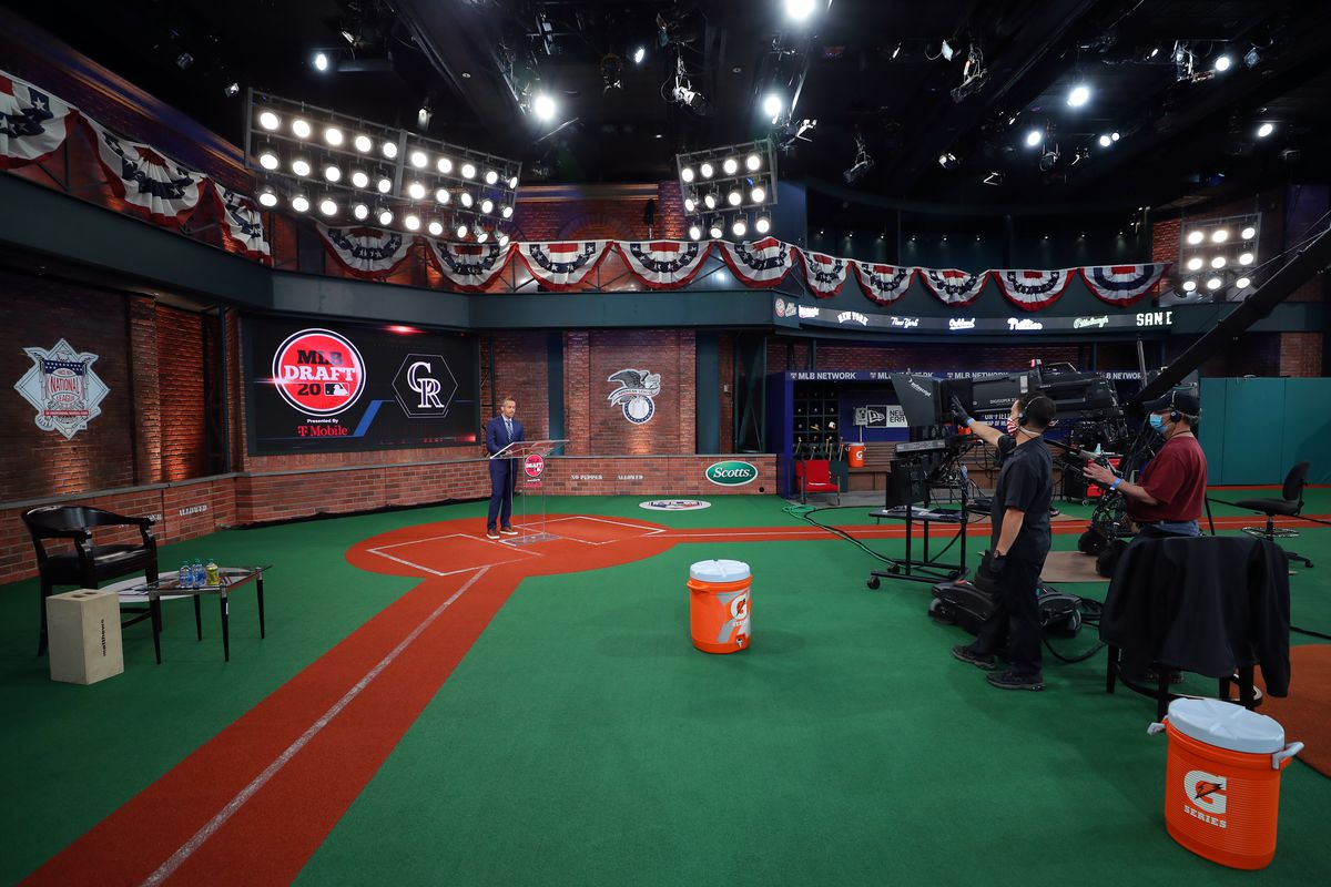 General view of the studio during the 2020 Major League Baseball Draft at MLB Network on Thursday, June 11, 2020 in Secaucus, New Jersey.