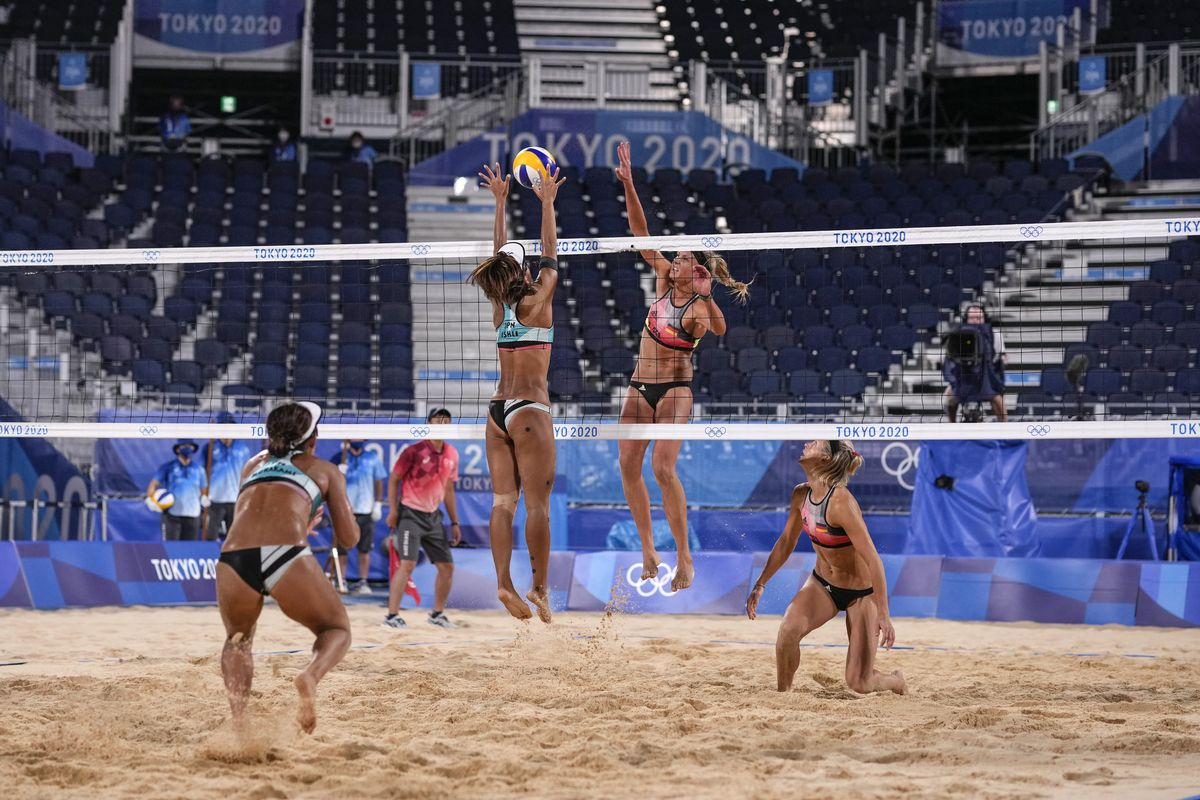 A women's beach volleyball match at the 2020 Summer Olympics in Tokyo.