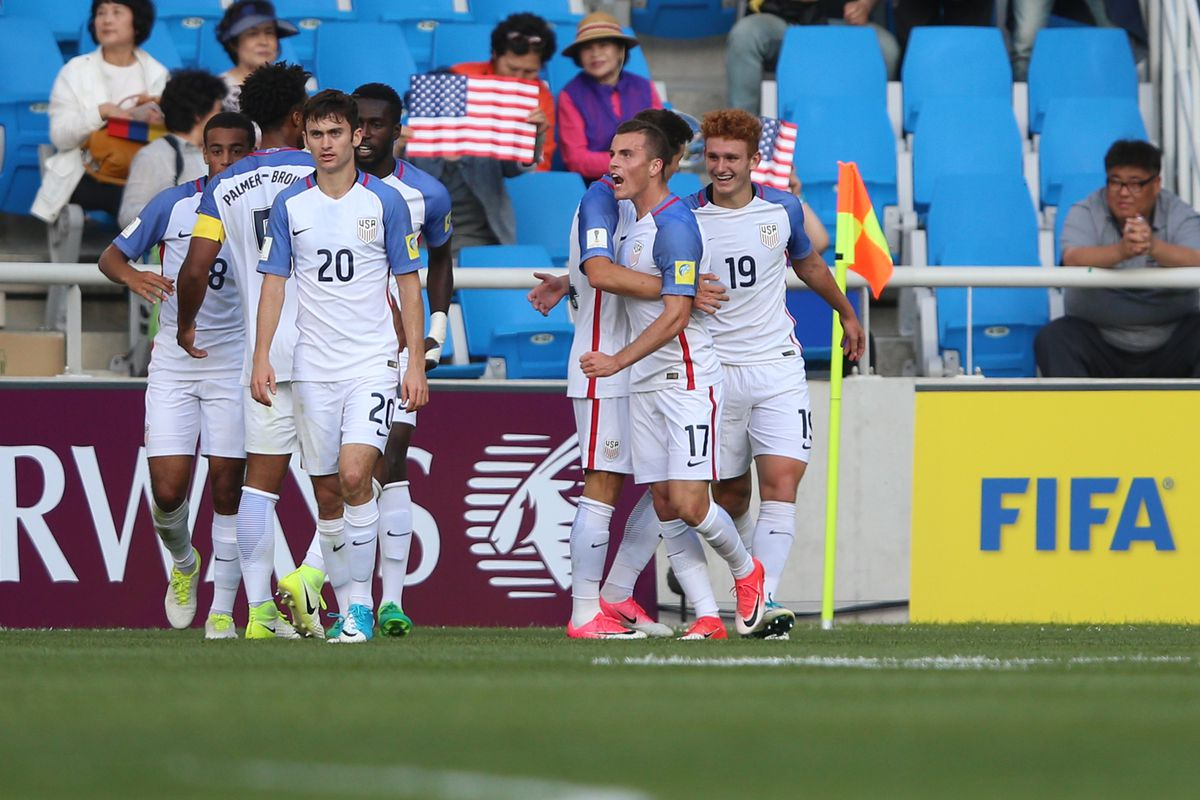 INCHEON, SOUTH KOREA - MAY 22: Joshua Sargent (R) of USA celebrates with his team mates after scoring hids team's first goal during the FIFA U-20 World Cup Korea Republic 2017 group F match between Ecuador and USA at Incheon Munhak Stadium on May 22, 2017 in Incheon, South Korea. (Photo by Joern Pollex - FIFA/FIFA via Getty Images)
