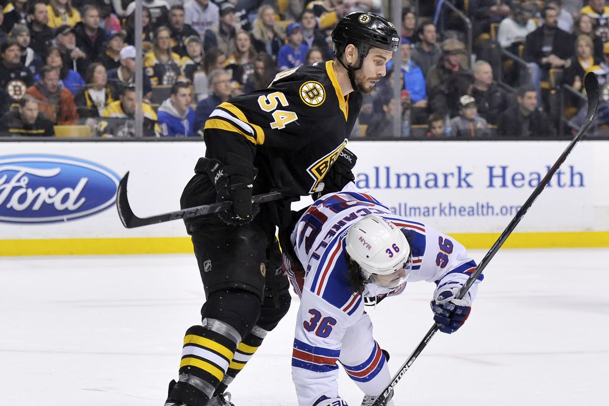 The Rangers went 2-2 last week, so to represent their little stumble, here's a Ranger getting bodied by a Bruin.