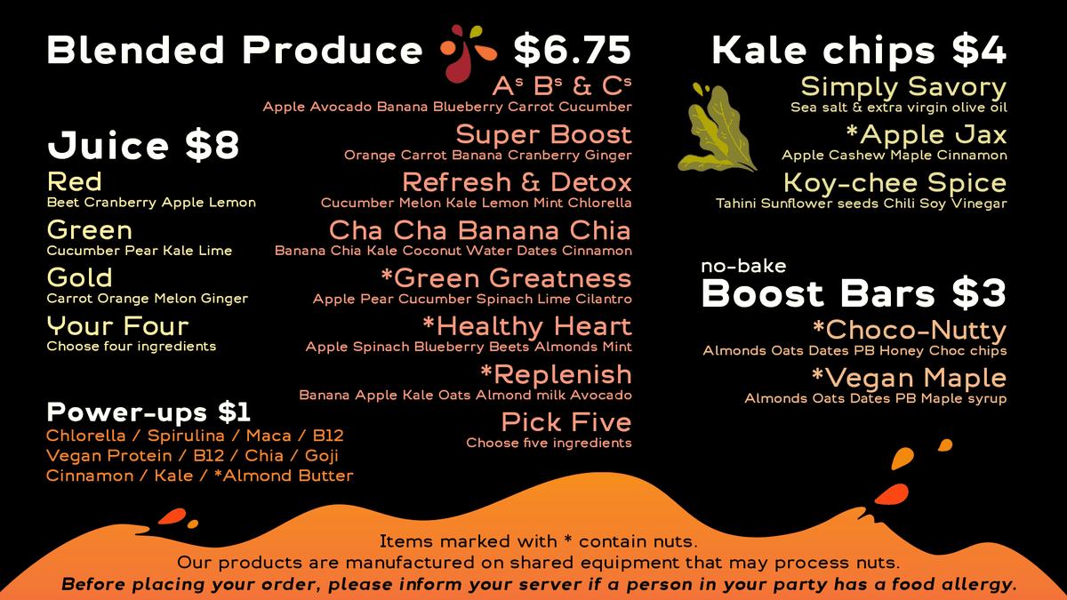 Projuice menu