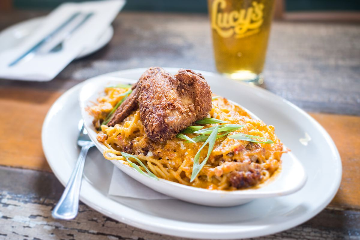 Fried chicken and spaghetti at Lucy's Fried Chicken